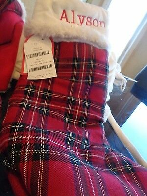 "Pottery Barn Plaid Christmas stocking monogrammed ""Alyson"" New"