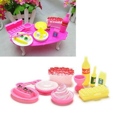 10 Pcs/set Birthday Cake Accessories for Barbies Kids Girls Play House Toys