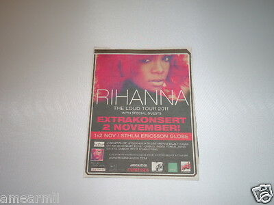 Rihanna The load tour 2011 concert ad from Sweden magazine