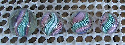 Marbles: Lot of 4 Antique German Divided Cores - Same Cane - All Mint