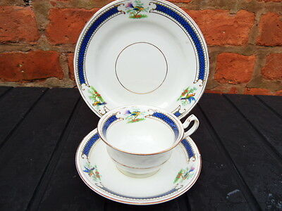 TRIO BONE CHINA Teaset Teacup Saucer Plate RADFORDS Bird of Paradise Navy Band 3