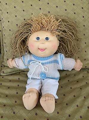 "Cabbage Patch Kids Hasbro 1990 Blue Eyes Blonde Hair Original Girl 14"" W/clothes"