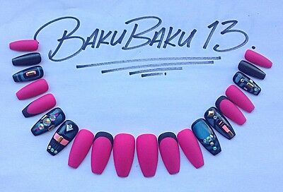 Hand Painted False Nails Neon Pink & Nail Art Square Coffin Full Cover Tips