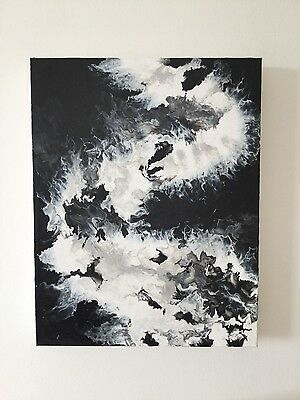 Black and white ORIGINAL abstract art painting on canvas