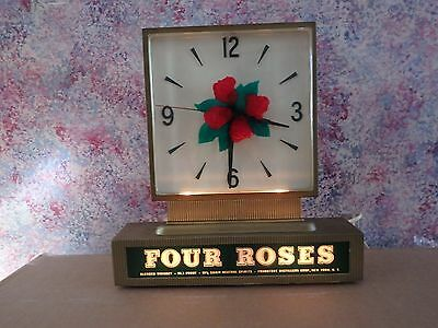 Old Four Roses Whiskey Light Up Advertising Clock Reverse Paint Glass Works !