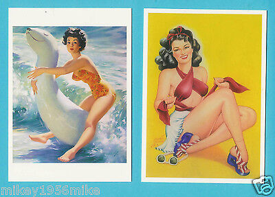 Novelty Naughty Pin up girls Postcards x 2 Set no 11  New Ideal for framing C9