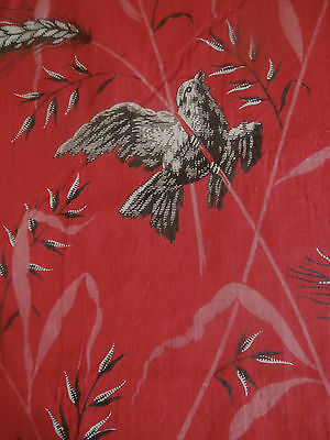 Antique 19thc Red Black Pink White Bird Wheat Cotton Fabric ~ #3