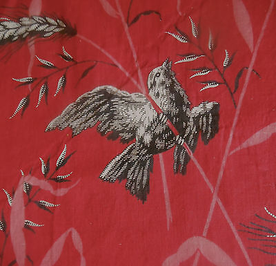 Antique 19thc Red Black Pink White Bird Wheat Cotton Fabric ~ #4
