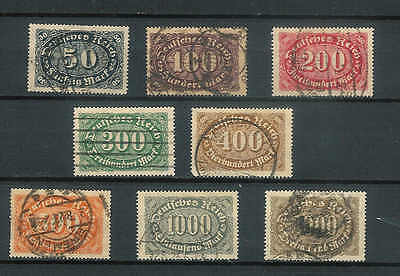Vintage German Stamps used good condition 1922 SG: 235 -243 . Cat Val £12.00 B34