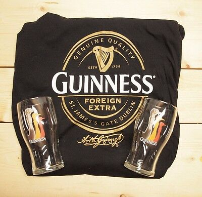 Guinness Beer Lot of 2 Pint Glasses with Ostrich graphic + XL NWOT t-shirt *****