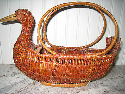 Vintage Wicker DUCK Basket with Handle Easter-Spring-Country Centerpiece