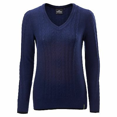 Kathmandu Highlands Womens Merino Wool Cable Knit Jumper Winter Pullover Navy