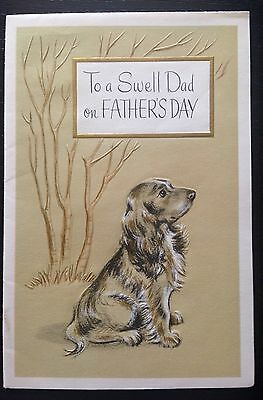 "Father's Day VINTAGE UNUSED Spaniel Dog ""To A Swell Dad on FATHER'S DAY"""