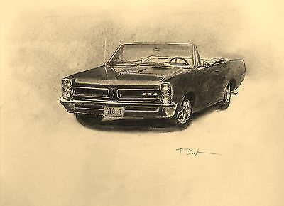 GTO Classic Muscle Car. Real Art Drawing. Signed by Artist.