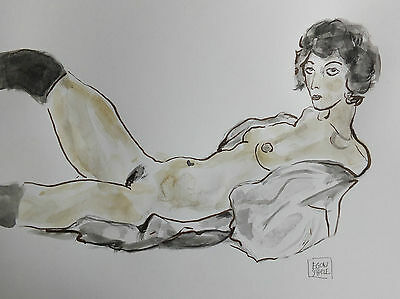 Egon Schiele. Interesting Drawing For Sale.Sexy Art. Signed.