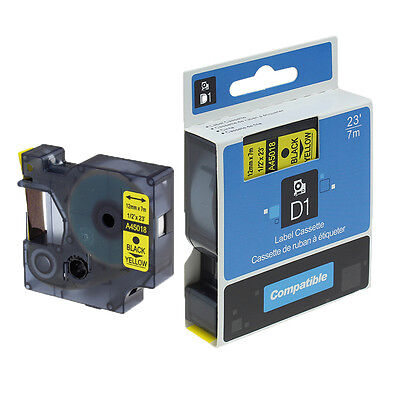 1 PK D1 Label Tape Compatible DYMO 45018 S0720580 Black on Yellow Labeling Tape