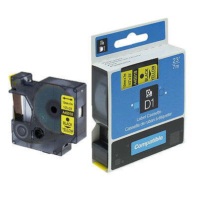 D1 Label Tape Compatible DYMO 45018 S0720580 Black on Yellow Label Tape 12mm