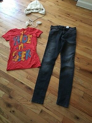 Lot Of 4 Women's Clothing Items H&M Skinny jeans! Sz 29/32 Bcbg Blouse