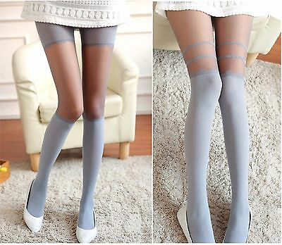 Women Grey Sheer Opaque Pantyhose Design Tights Mock Fake Thigh High Stockings