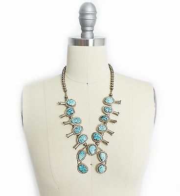 Vintage Squash Blossom Necklace - Turquoise + STERLING Silver Navajo 925 108g
