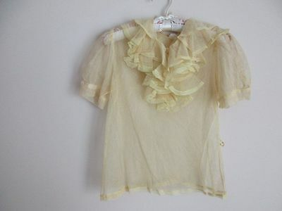 Vintage 1940 Yellow Net Lace Over Blouse Small
