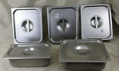 5 New Vollrath 18-8 Stainless Steel Steam Table Pans & Covers Super Pan