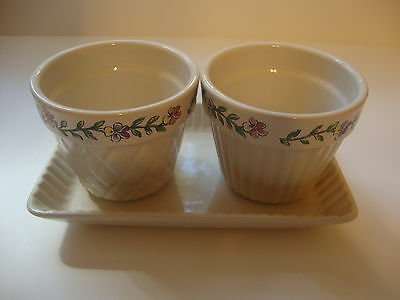 Longaberger Pottery Early Blossom 2000 Mother's Day Flower Pots & Tray - USA!