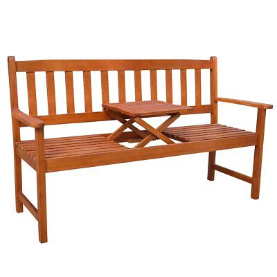 #Outdoor Garden Bench with Pop-up Table Acacia Hardwood Patio Chair Seat