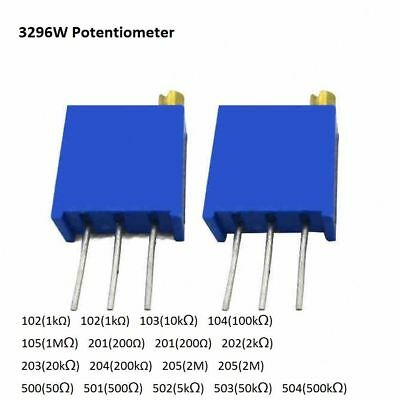 3296 MultiturnVariable Trimmer Preset Potentiometer 100Ω R to 2MΩ Ohm Resistor