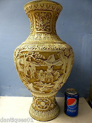 Very Large Chinese Cinnabar Lacquer Vase - Beautiful Carved Panels - Very Rare