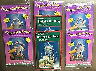 """7 Gift Basket SHINK WRAP bags 24""""x30"""" CLEAR large size w/3/8"""" ribbons LOT new"""