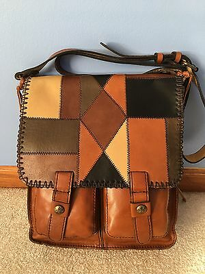 New With Tags Patricia Nash Zig Zag Patchwork Collection Armeno Messenger Bag