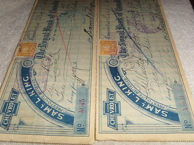 1921 Sam King Chevrolet Dealership Cancelled Cheques Royal Bank