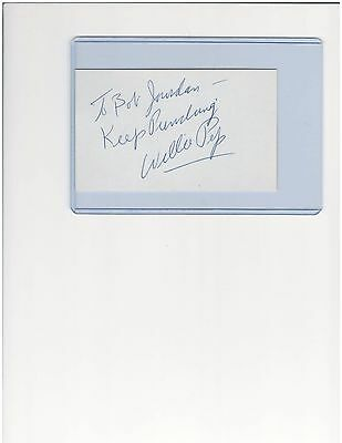 Willie Pep  Featherweight Boxing Champion Autographed 3 X 5 Index Card