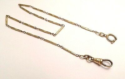 "Vintage Gold Filled Pocket Watch Holder Chain Fob Swivel Clasp 13 3/4"" Inches"