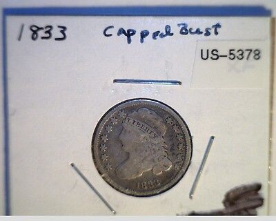 1833 US Capped Bust Dime,  High Grade Circulated,  .8924 Silver (US-5378)