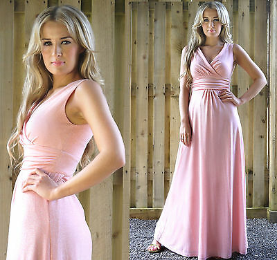 Long Evening Dress Spring Summer Wedding Bridesmaid Prom Party Pink UK Size 8/10