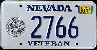 "NEVADA "" U.S. ARMY VETERAN "" 2007 NV Military Graphic License Plate"