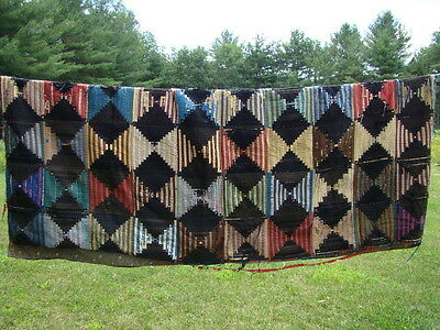 Antique Hand Stitched Amish Style Log Cabin Quilt