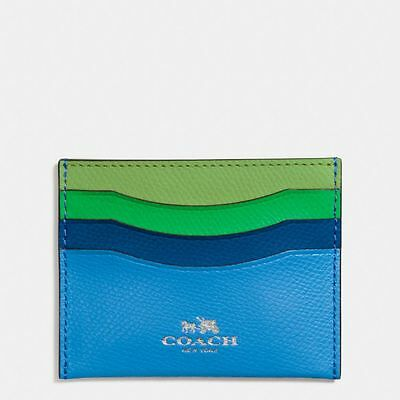 Coach Blue Green Credit Card Case Rainbow Colorblock Leather Wallet $65