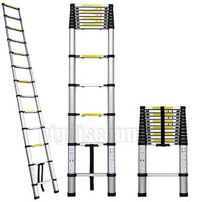 3.8 M Telescopic Aluminium Ladder Extendable Steps Folding Fold