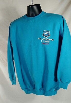 Mens Med Players Racing Team Crewneck Sweatshirt Double Sided Turquoise Blue