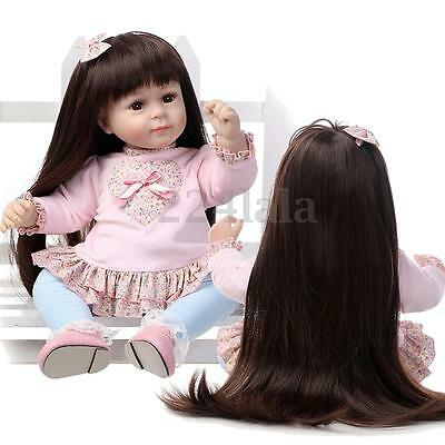 22'' Lifelike Handmade Long Hair Girl Baby Doll Soft Silicone Vinyl Reborn Doll