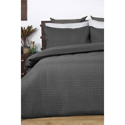 Ardor Charcoal Box Quilted Doona Quilt Cover Set Single Double Queen King