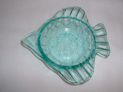1988 Wheaton Industries 100 Years Of Service Turquoise Green Fish Ashtray HTF