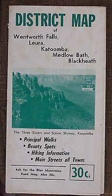 AUSTRALIA-WENTWORTH FALLS VINTAGE PULL-OUT MAP AND LEAFLET-C.1950s