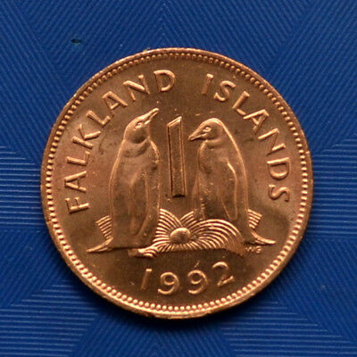 Falkland Islands 1 Penny 1992. UNC Penguins with egg, animal wildlife coin