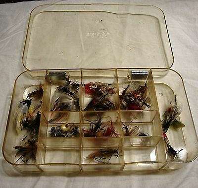 Estate Sale find about 62 Hand tied trout flies various types case 5 hooks