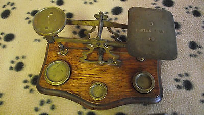 Vintage Postal Scale, Brass with Wood Base and Weights