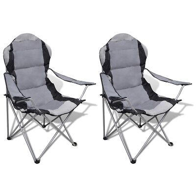 # 2X Folding Outdoor Travel Camping Fishing Chair PVC Coating Seat Arm Picnic Gr